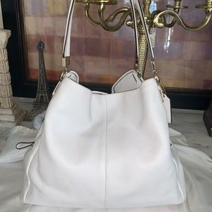 Coach white pebbled leather bag
